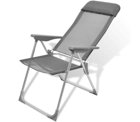 Foldable Adjustable Camping Chairs Aluminum Set of 2[4/6]