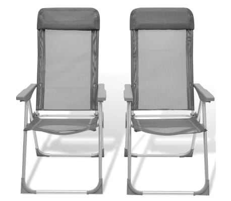 Foldable Adjustable Camping Chairs Aluminum Set of 2[6/6]