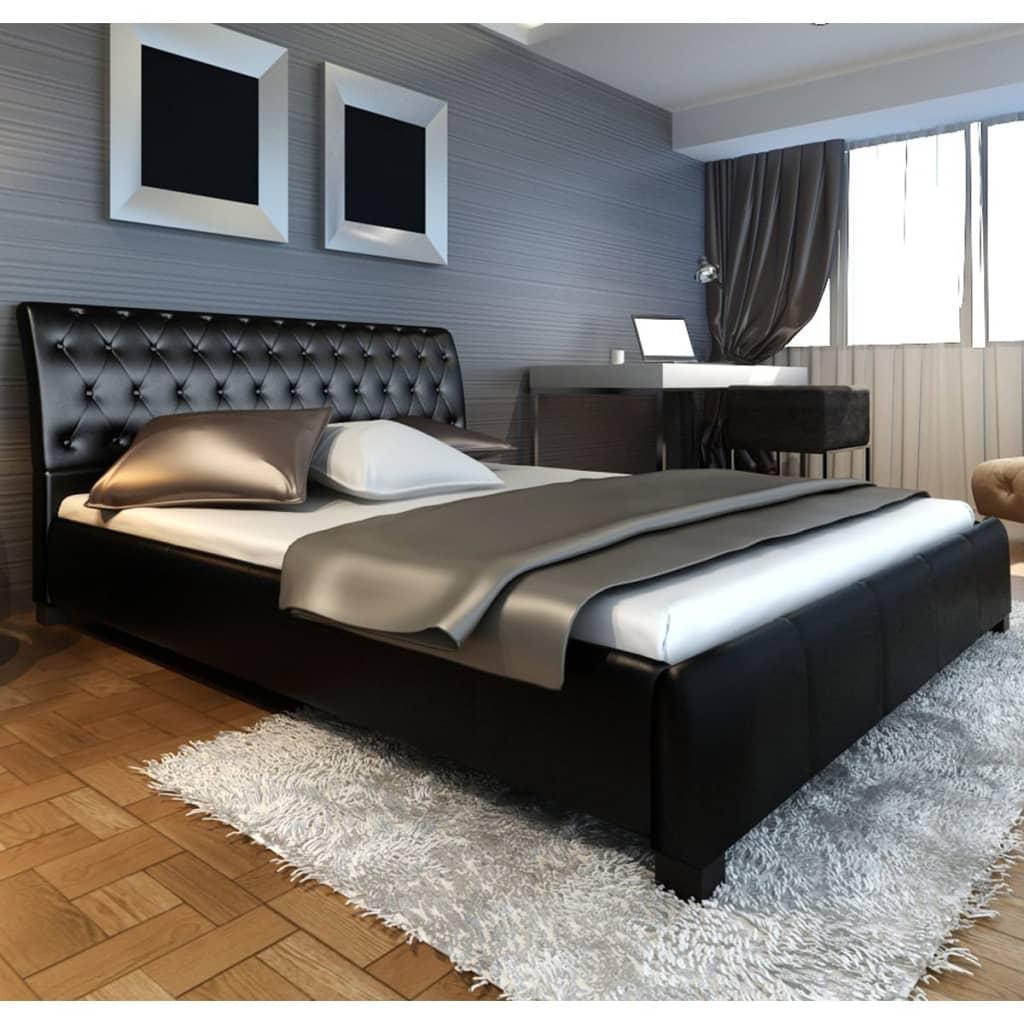 Černá postel z umělé kůže 180  cm s matrací