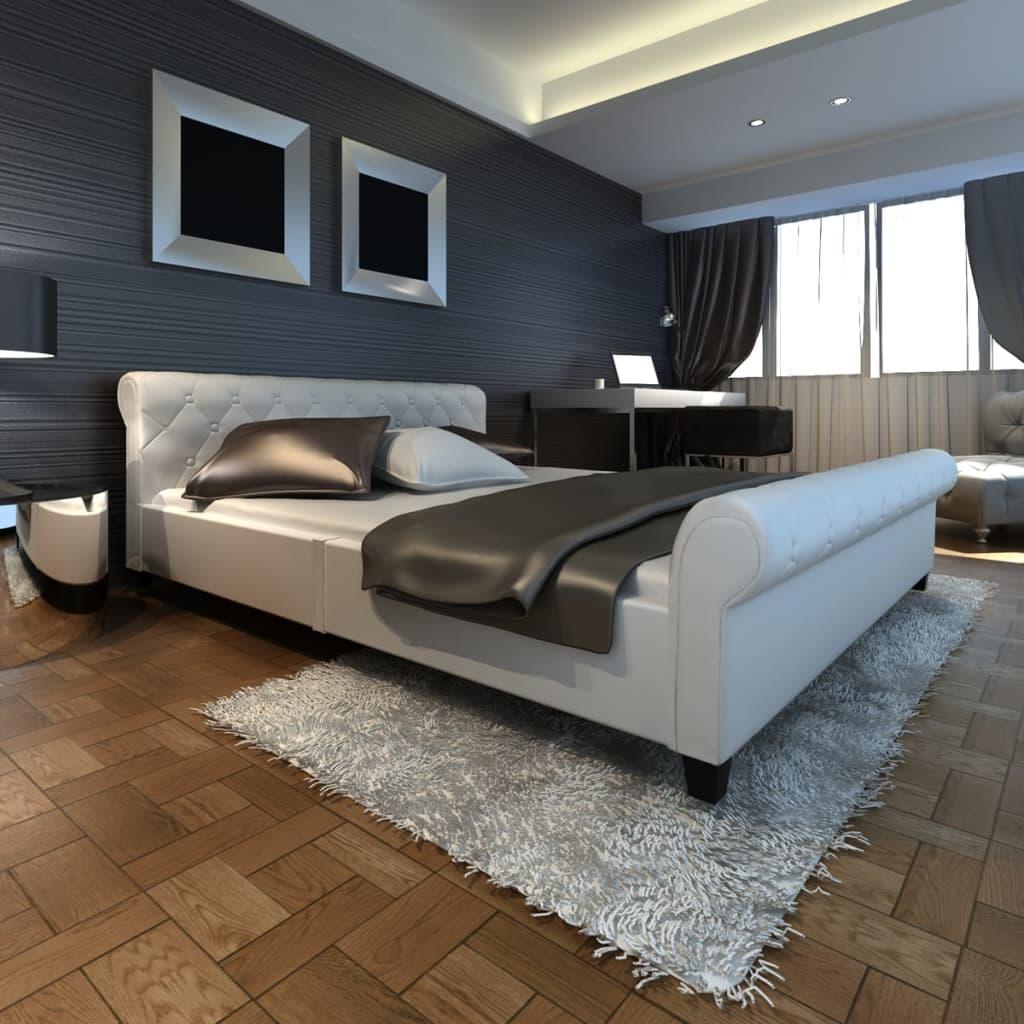 Bílá postel z umělé kůže 140 cm s matrací (240336 + 241403)