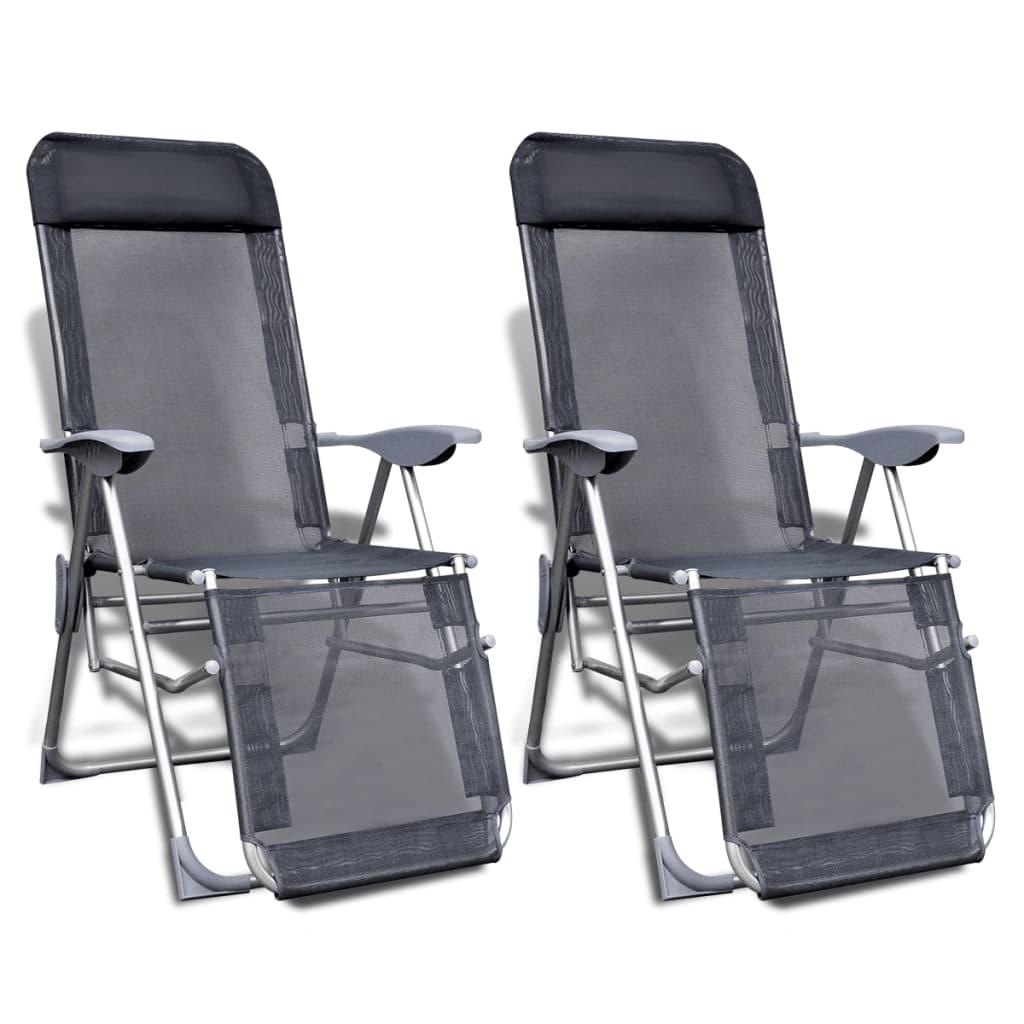 vidaXL Καρέκλες Camping Πτυσσόμενες με Υποπόδιο Σετ των 2 από Αλουμίνιο