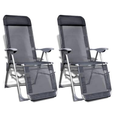 Klappbare einstellbare Campingstühle mit Fußstütze Aluminium 2er-Set[1/6]