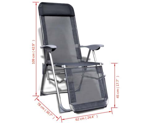 Klappbare einstellbare Campingstühle mit Fußstütze Aluminium 2er-Set[6/6]
