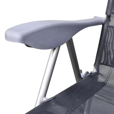 Klappbare einstellbare Campingstühle mit Fußstütze Aluminium 2er-Set[5/6]