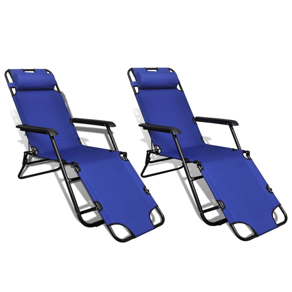 vidaXL Sunlounger 2 pcs with Footrest Foldable Adjustable Blue