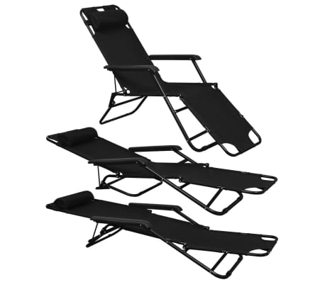 vidaXL Folding Sun Lounger 2 pcs with Footrests Steel Black[2/9]