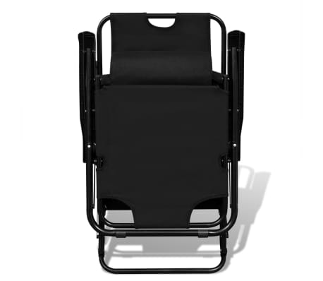 vidaXL Folding Sun Lounger 2 pcs with Footrests Steel Black[3/9]