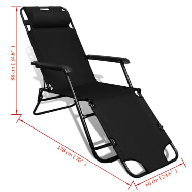 vidaXL Folding Sun Lounger 2 pcs with Footrests Steel Black[9/9]