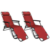vidaXL Folding Sun Lounger 2 pcs with Footrests Steel Red