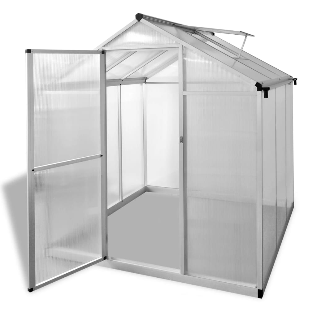 vidaXL Reinforced Aluminium Greenhouse with Base Frame 3.46 m²