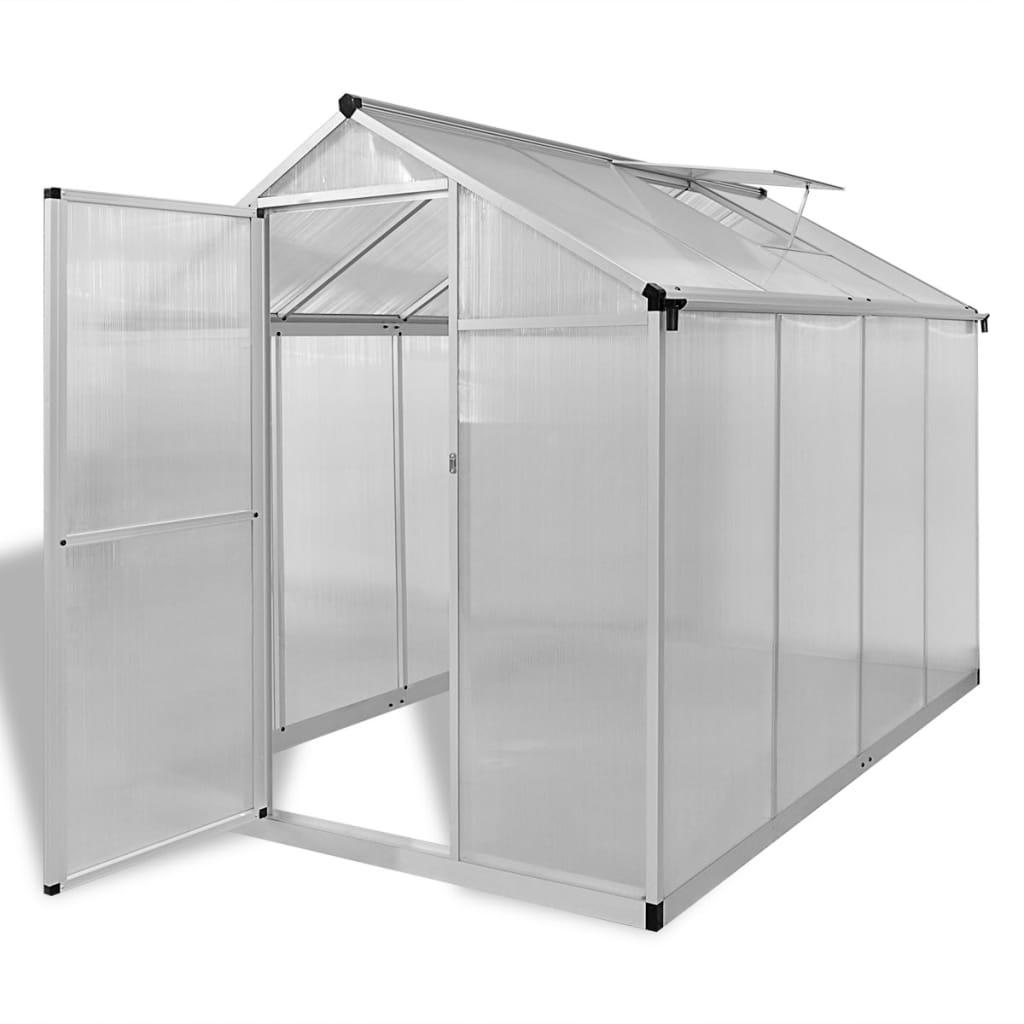 vidaXL Seră din aluminiu ranforsat cu cadru la bază, 4,6 m² poza vidaxl.ro