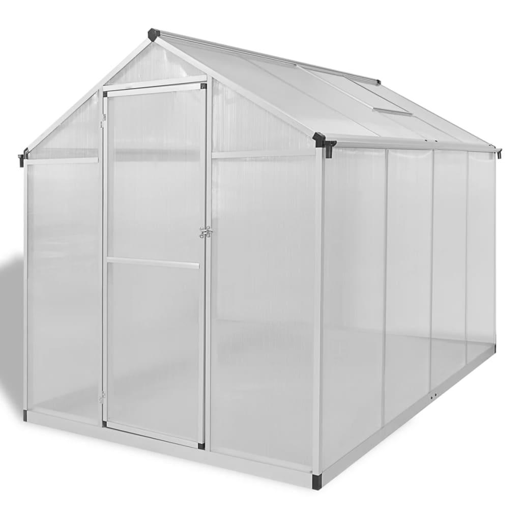 vidaXL Tuinkas versterkt aluminium met basisframe 4,6 m²