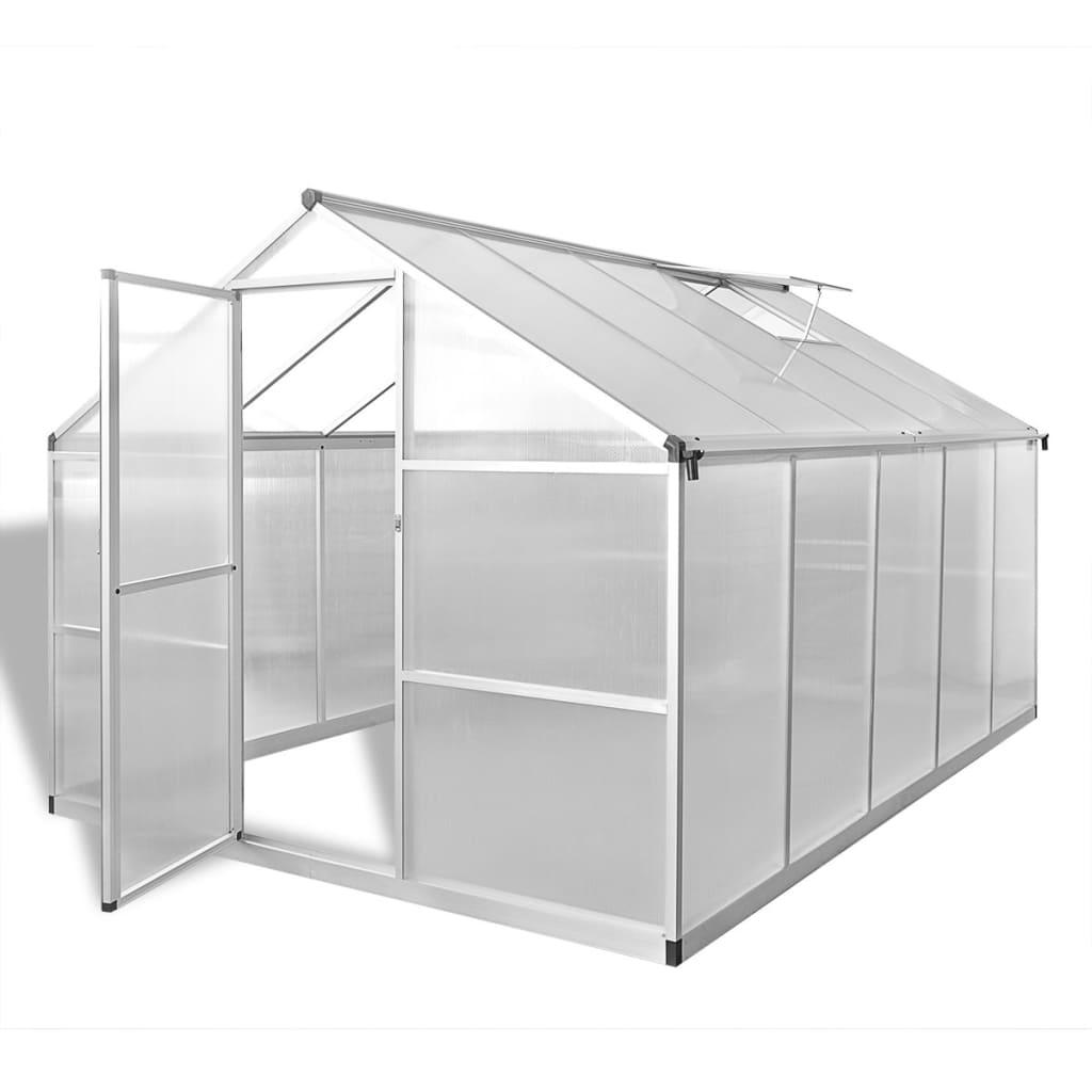 vidaXL Zpevněný hliníkový skleník se základním rámem 7,55 m²