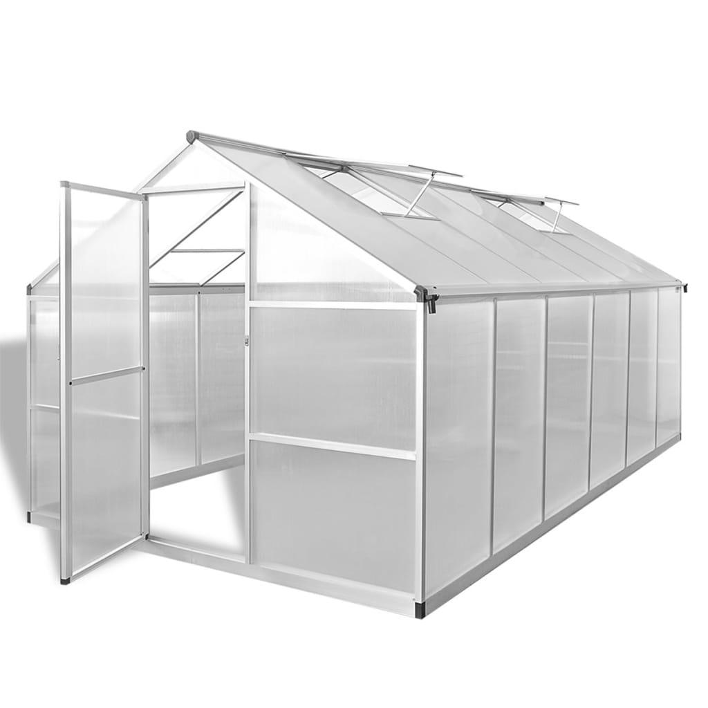 vidaXL Zpěvněný hliníkový skleník se základním rámem 9,025 m²