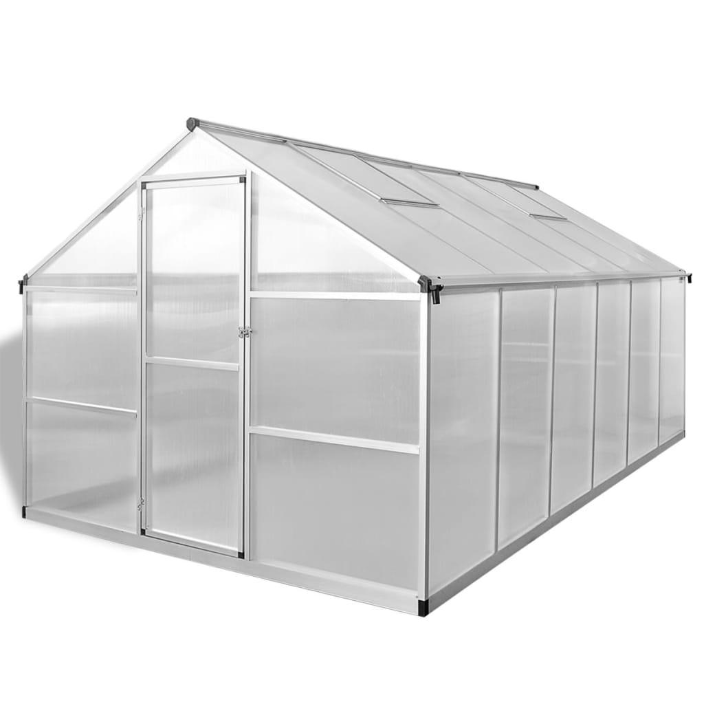 vidaXL Tuinkas versterkt aluminium met basisframe 9,025 m²