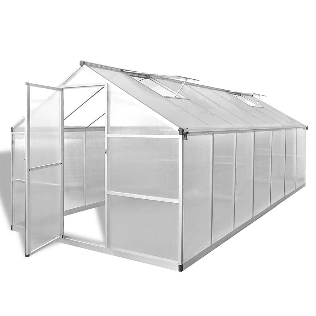 vidaXL Reinforced Aluminium Greenhouse with Base Frame 10.525 m²