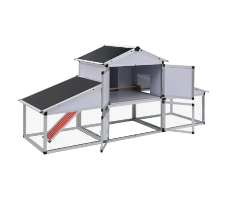 Aluminum Chicken Coop with Runs and 1 Nest Box[3/8]