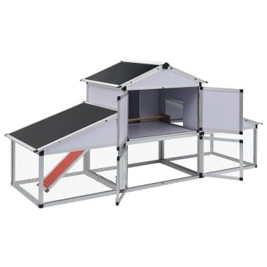 vidaXL Chicken Coop with Runs and Nest Box Aluminium[3/6]