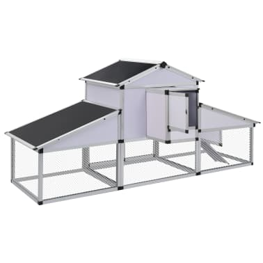 vidaXL Chicken Coop with Runs and Nest Box Aluminium[4/6]