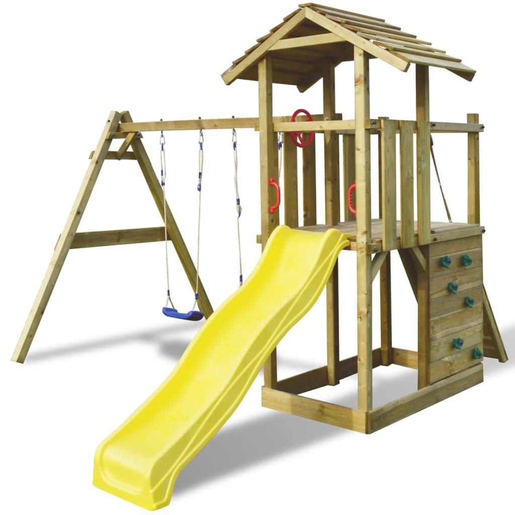 Dřevěný set dětské hřiště na zahradu, se skluzavkou a houpačkami