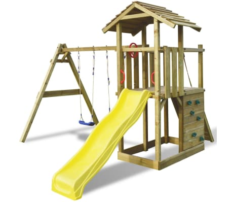 Wooden Outdoor Kids Play Tower With Ladder, Slide And Swings[1/14]