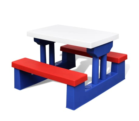 vidaXL Kids' Picnic Table with Benches and Parasol Multicolour[3/5]