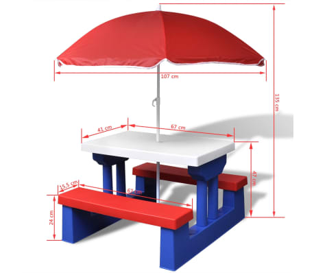 vidaXL Kids' Picnic Table with Benches and Parasol Multicolour[5/5]