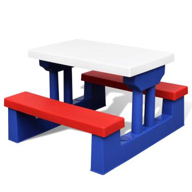 vidaXL Dziecięcy stół piknikowy z parasolem[3/5]