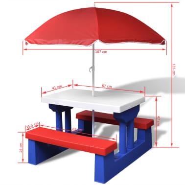 vidaXL Dziecięcy stół piknikowy z parasolem[5/5]