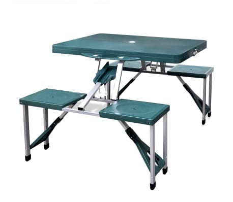 Foldable Camping Table Set with 4 Stools Aluminum Extra Light Green[1/5]