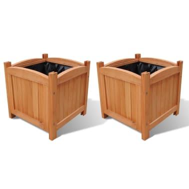 Pflanzkübel aus Holz 30 x 30 x 30 cm 2er-Set[1/5]