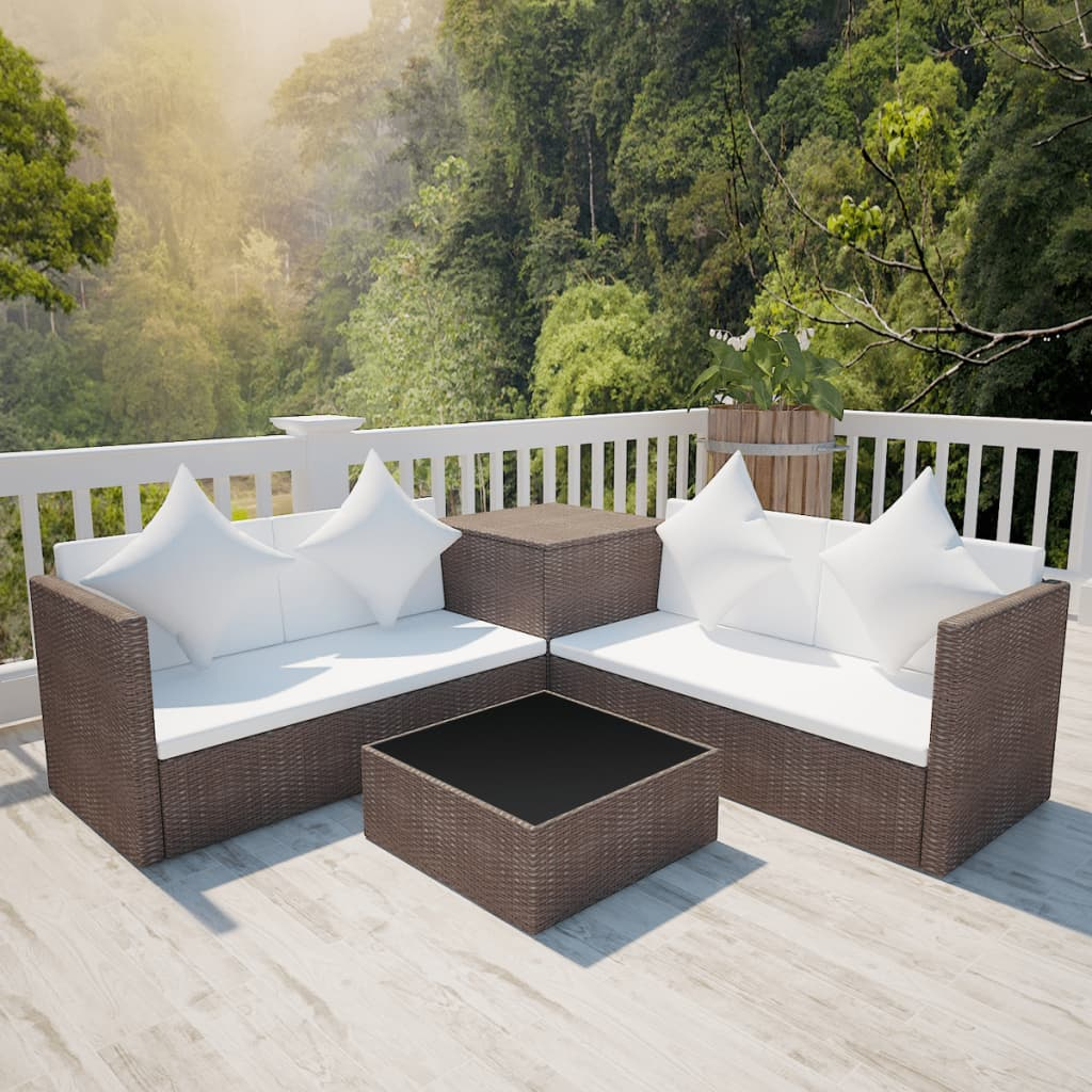 vidaXL Garden Lounge Set 14 Pieces with Storage Chest Poly Rattan Brow