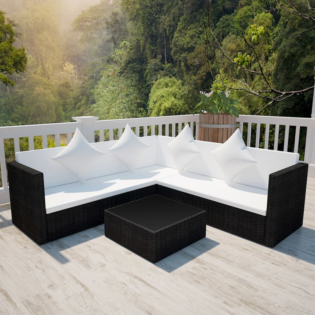 vidaXL Garden Lounge Set 17 Pieces with Storage Chest Poly Rattan Blac