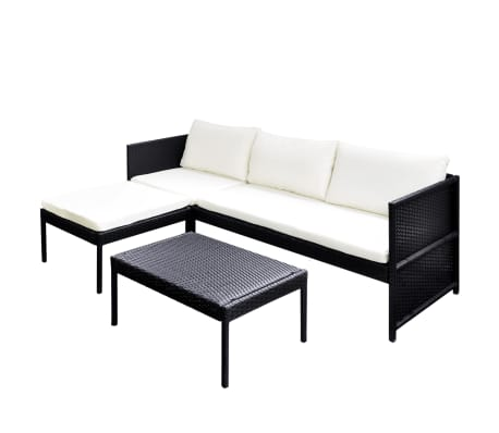 vidaXL Outdoor Sofa Set Nine Pieces Black Poly Rattan[2/7]