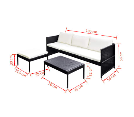 vidaXL Outdoor Sofa Set Nine Pieces Black Poly Rattan[7/7]