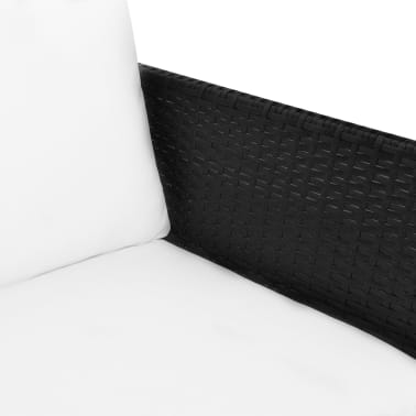 vidaXL Outdoor Sofa Set Nine Pieces Black Poly Rattan[4/7]