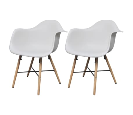 vidaXL Dining Chairs 2 pcs with Beechwood Legs White[2/6]