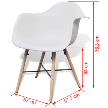 vidaXL Dining Chairs 2 pcs with Beechwood Legs White[6/6]