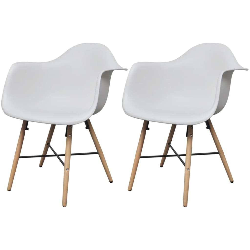 vidaXL 2 pcs White Dining Chair with Armrests and Beech Wood Legs