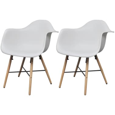 vidaXL Dining Chairs 2 pcs with Beechwood Legs White[1/6]