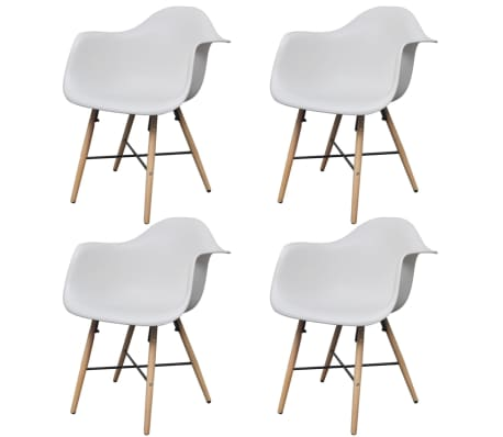 vidaXL Dining Chairs 4 pcs with Beechwood Legs White[2/6]
