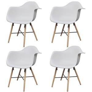 vidaXL Dining Chairs 4 pcs White Plastic and Beechword