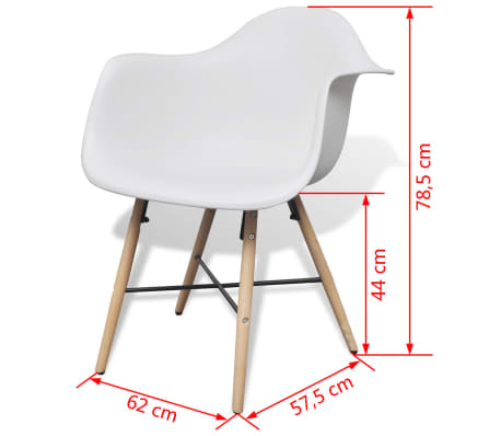 vidaXL Dining Chairs 4 pcs with Beechwood Legs White[6/6]