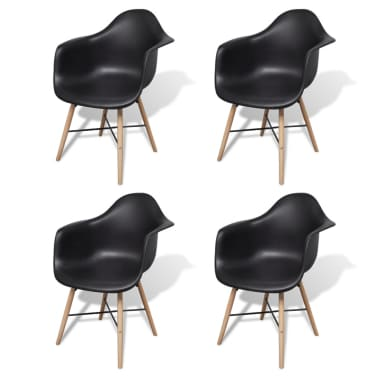 vidaXL Dining Chairs 4 pcs with Beechwood Legs Black[2/6]