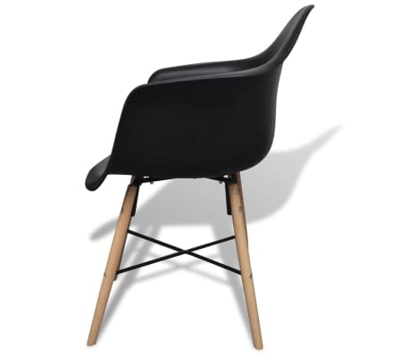 vidaXL Dining Chairs 4 pcs with Beechwood Legs Black[4/6]