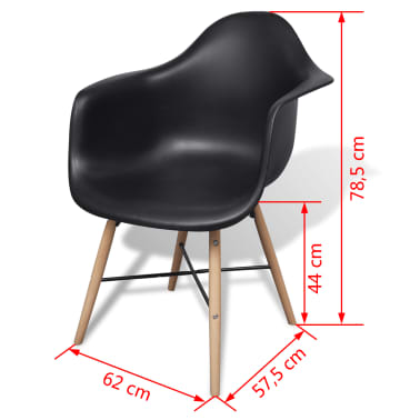 vidaXL Dining Chairs 4 pcs with Beechwood Legs Black[6/6]
