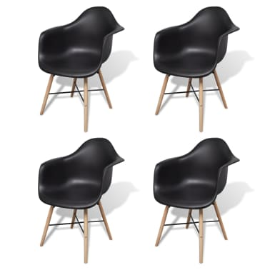 vidaXL Dining Chairs 4 pcs with Beechwood Legs Black[1/6]