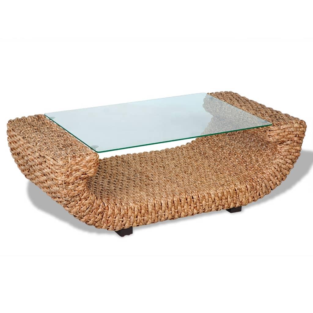 Ručně pletený konferenční stolek z vodního hyacintu, skleněná deska