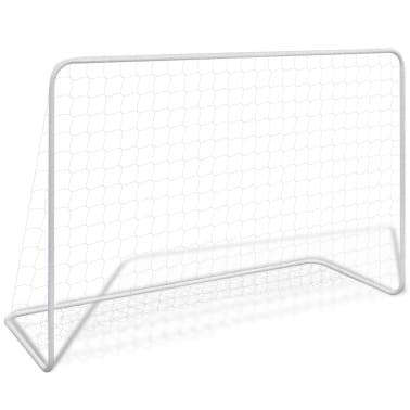 vidaXL Futbolo vartai su tinkleliu, plienas, balta sp. 182x61x122cm[1/4]