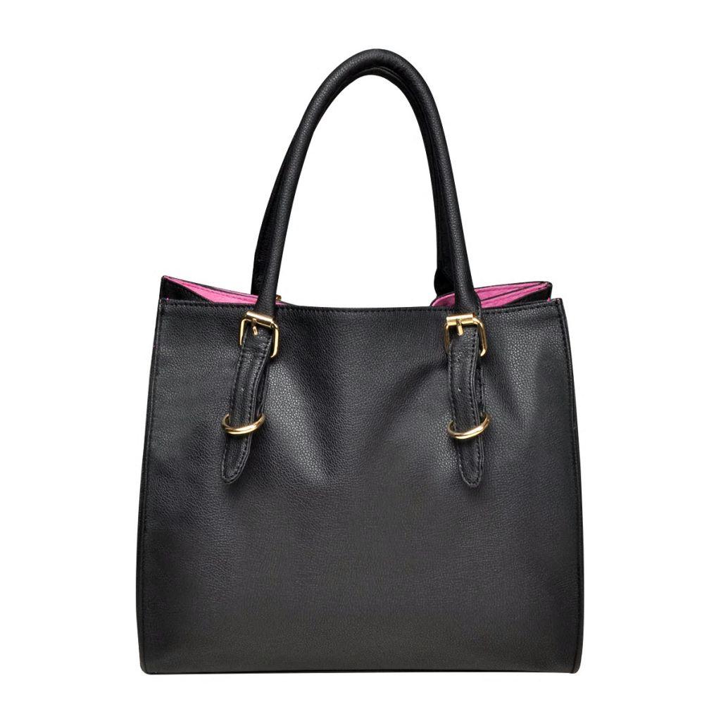 Černo-růžová čtyřhranná kabelka